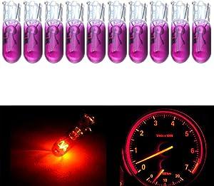 cciyu 10Pack Purple T5 70 2721 Halogen Light Bulbs Instrument Panel Dash Light