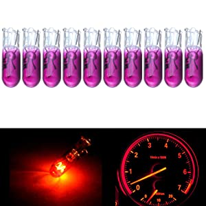 cciyu 10Pack Purple T5 70 2721 Halogen Light Bulbs Instrument Panel Dash Light