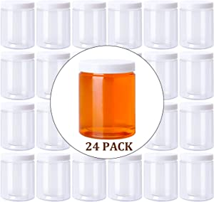 Habbi 24 Packs 8 OZ. Slime Containers, Clear Slime Storage Jars with Lids Plastic Wide-Mouth Food Storage Jars for DIY Slime Making, BPA Free