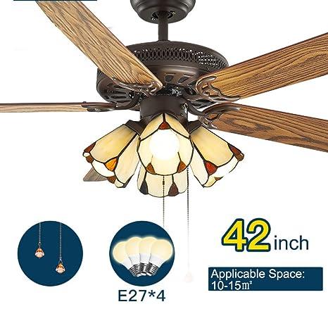 Estilo americano Vendimia Ligero Ventilador de techo Con Luz ...