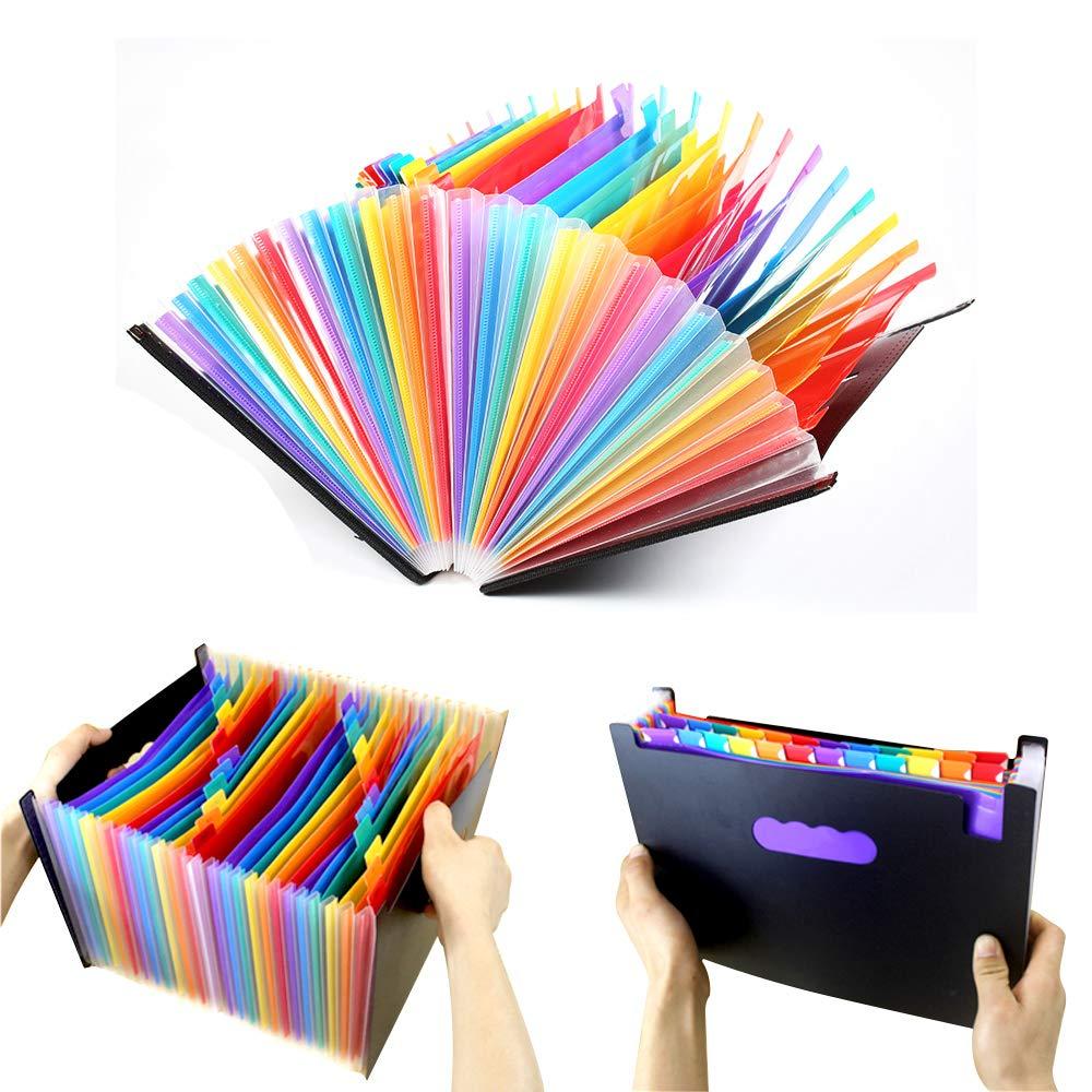 Multicolore grande capacit/à Perfetta DAMIGRAM 24 tasche Cartelle Documenti Accordion File Impermeabile Cartella Portadocumenti Portatile Espandibile struttura a Fisarmonica