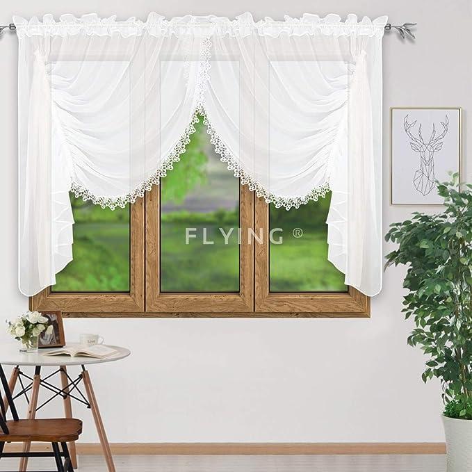 FK-Lampem LB-11/Kit pr/êt Voilage en Voile rideau moderne blanc gip/üre 150/x 400/cm