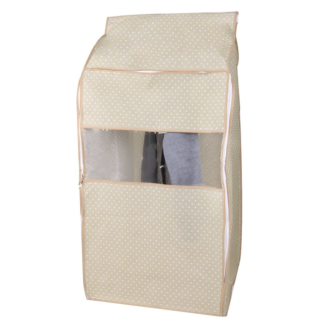uxcell Non-Woven Fabric Home Zippered Garment Suit Clothing Protector Cover Bag 95 x 50 x 53cm, White Dot