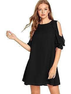 077a8fff99f Romwe Women s Short Sleeve Ruffle Cold Shoulder Loose Casual Chiffon Dress