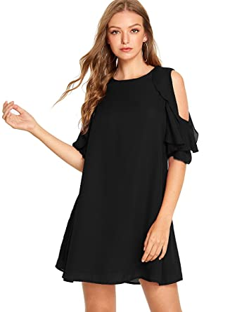 e62434b447 Romwe Women s Short Sleeve Ruffle Cold Shoulder Loose Casual Chiffon Dress  Black S