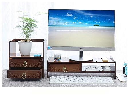 Xnbmvc Soporte Vertical para Monitor de bambú de 2 Niveles con ...