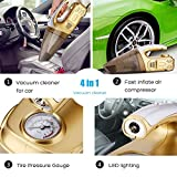 4-in-1 Car Vacuum Cleaner ,Tire Inflator, Tire Pressure Gauge with Bright Led Light , Napoer High Power Portable Handheld Vacuum for Car, Wet/Dry 12V 120W,16.4Foot(5M)Power Cord with Carry Bag