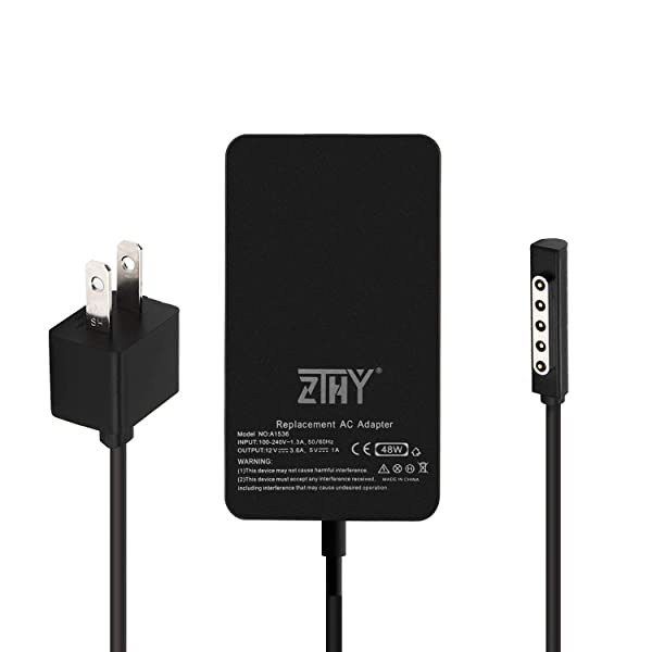 Surface Pro 2 Surface Pro 1 Charger,48W 12V 3.6A Power Supply AC Adapter for Microsoft Surface Pro 2 Surface Pro 1 Surface RT with 6Ft Power Cord Model 1536 1512 1601 by ZTHY