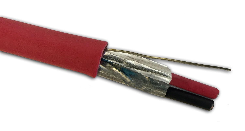 16 AWG 2/C Cable De Alarma Contra Incendios, Plenum fplp con total Shield + rojo chaqueta - Alambre de corte longitudes disponibles - fabricado en Estados ...
