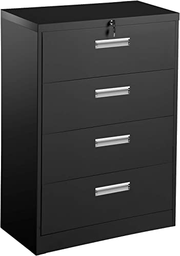 4 Drawer File Cabinet with Lock and Key, 52.6 Deep Vertical Metal Steel Lateral Filing Cabinet File Organizer Office Cabinet with Handle for Legal, Letter, Business File, Anti-tilt Structure Black