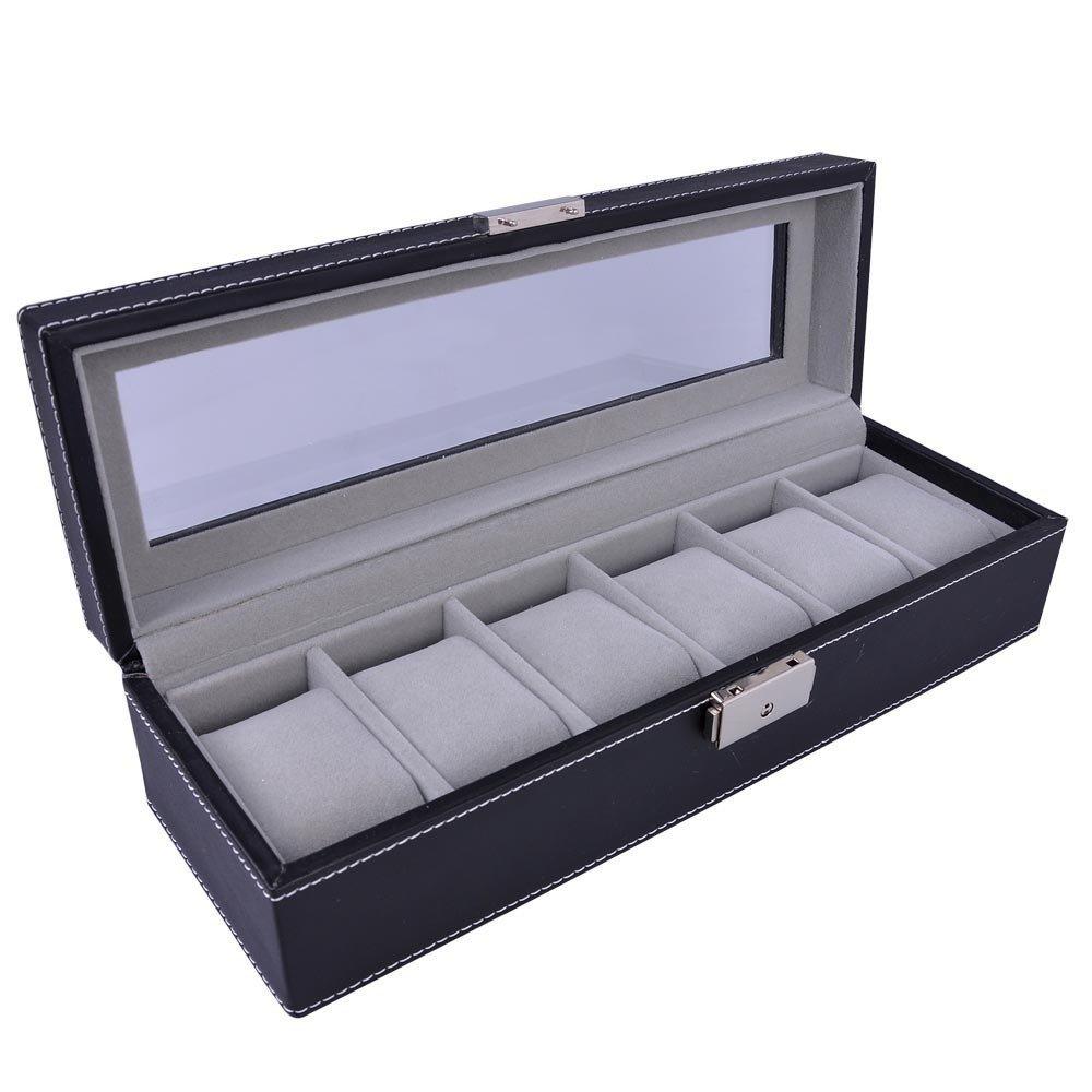 6メンズスタイルブラックレザーウォッチケースボックスガラストップジュエリー表示 B00EMT8ZPC