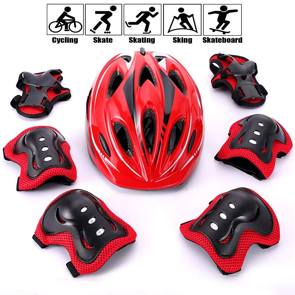 GYL-JL Kid's Skateboard Bike Protective Gear Set Red (Size : 4-11 Years Old)