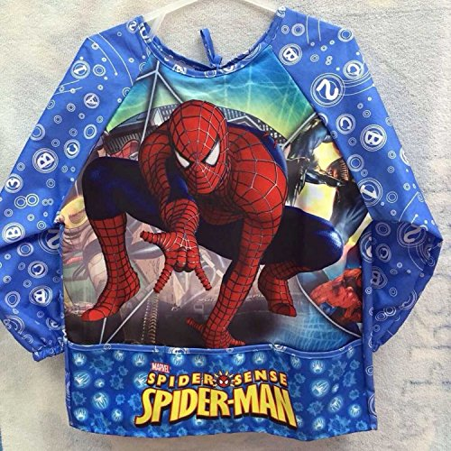 Man Spider Paint (CJB Spiderman Water Resistant Kids School Art Paint Smock Bib Apron with Sleeves - XL/ 4-7 Years Old (US Seller) by Sofia)