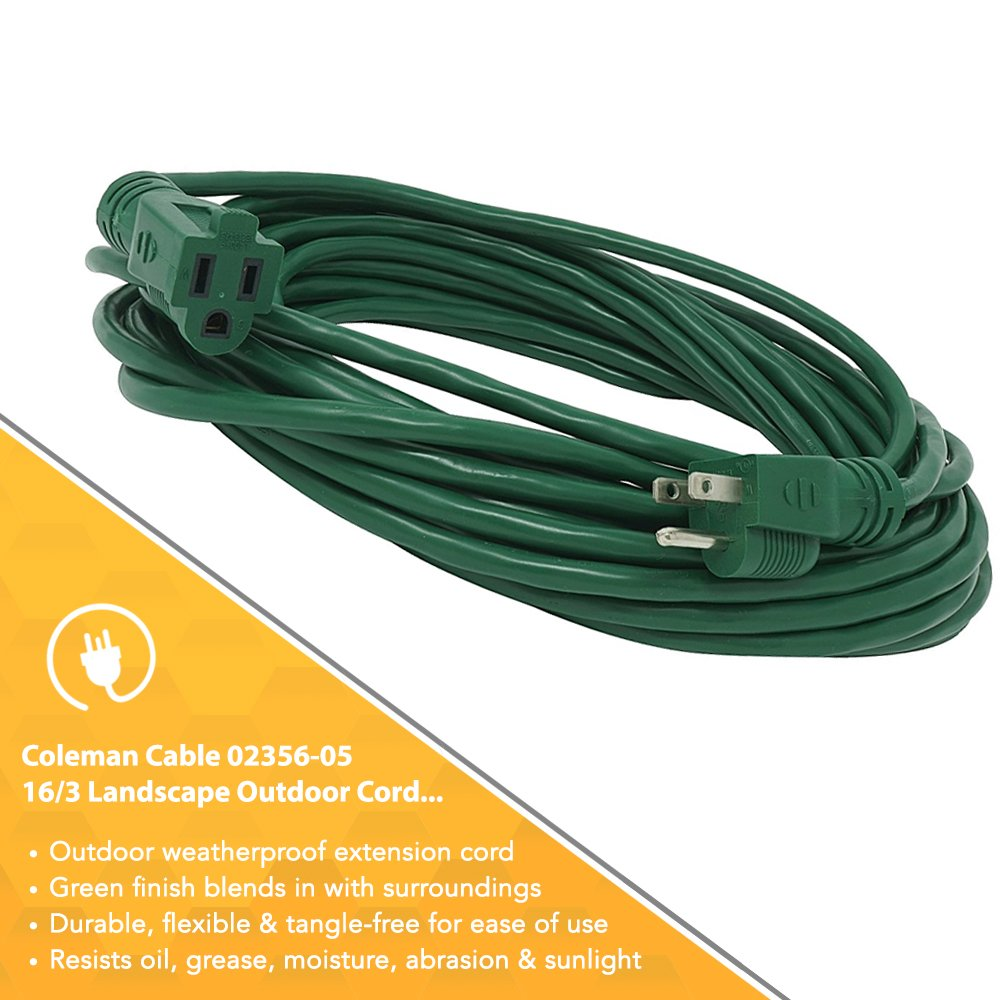 Coleman Cable 2356 16/3 Vinyl Landscape Outdoor Extension Cord, Green, 40 Foot by Coleman Cable (Image #4)