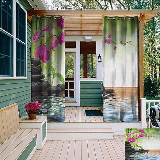 XXANS - Cortinas de Exterior para Ventana, Compuesto de bambú para el Suelo, diseño de orquídeas, Color Gris, Verde Lima: Amazon.es: Jardín