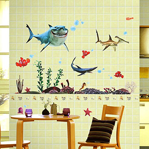 Big Sharks Sea Fishes Animals Plants Wall Decal PVC Home Sticker House Vinyl Paper Decoration WallPaper Living Room Bedroom Kitchen Art Picture DIY Murals Girls Boys kids Nursery Baby Playroom (Big Thing Decals)