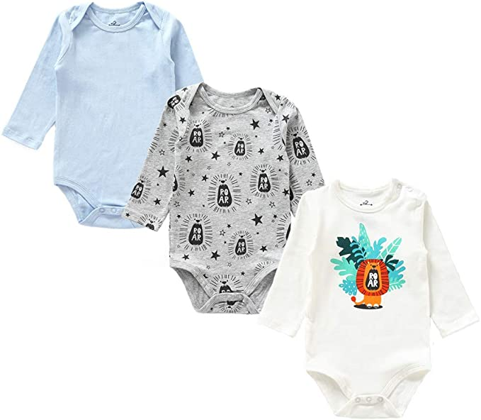 Zanie Kids Baby Long Sleeves Print Bodysuit Snap Closure Cotton Sleep and Play 5-Pack