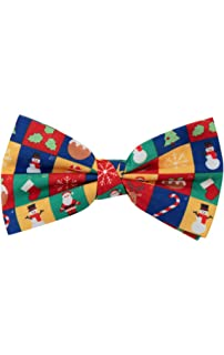 Dobell Mens Red and Green Christmas Bow Tie Pre-Tied