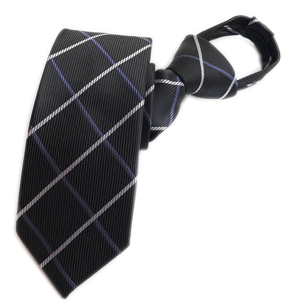 Elfeves Men's Black Big Check Plaid Plain Silk Ties Cravat Woven Casual Neckties by Elfeves