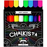Liquid Chalk and Window Markers with Reversible Tip – Set of 8 Pack Wet Erasable Pens Bright Bold Neon Colors – Use on Glass Chalkboards Whiteboards Blackboards Labels Bistro by Chalkista