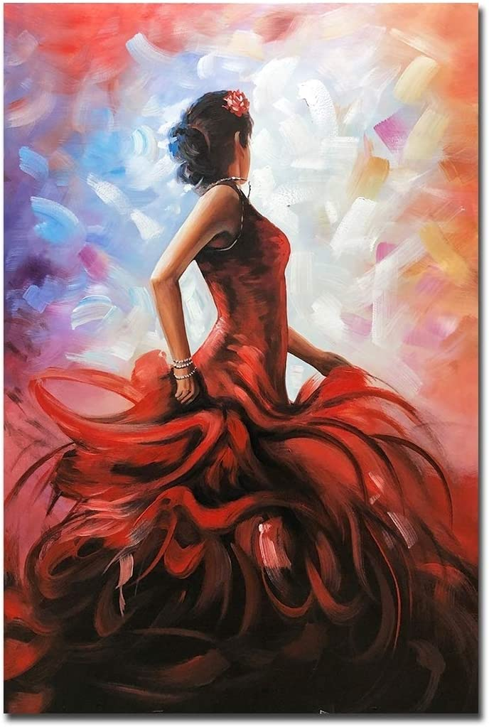 Fasdi-ART Oil Painting Figure Girl 3D Hand-Painted On Canvas Abstract Artwork Art Wood Inside Framed Hanging Wall Decoration Abstract Painting DF039, 32x48inch