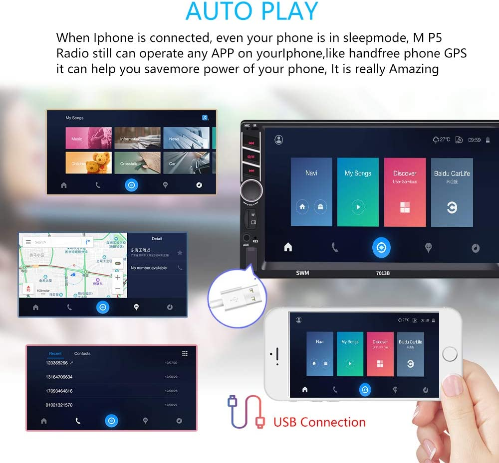 D-Play Car Multimedia Player Android /& iOS Mirror Link car Stereo with USB//AUX//SD Card Input Backup Camera Double Din car Stereo Car Radio with 7 inch Touch Screen Bluetooth FM