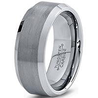 Tungsten Wedding Band Ring 8mm for Men Women Comfort Fit Beveled Edge Brushed