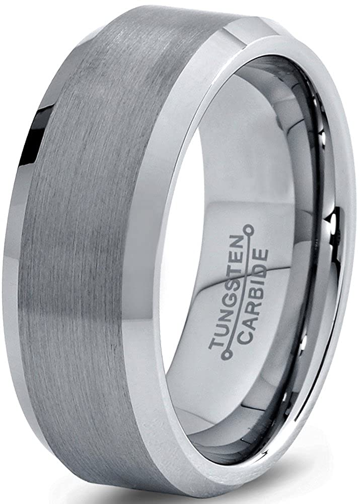 Tungsten Wedding Band Ring 8mm for Men Women Comfort Fit Beveled Edge Brushed Charming Jewelers CJCDN-003