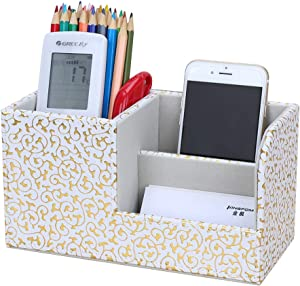 KINGFOM Leatherette Desk Organizer Pen/Pencil/Remote Control/Cell Phones/Brushes Holder Office Container Storage Box (S-Gold&White)