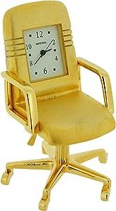 GTP Miniature Goldtone Metal Office Swivel Chair Novelty Collectors Clock IMP1047