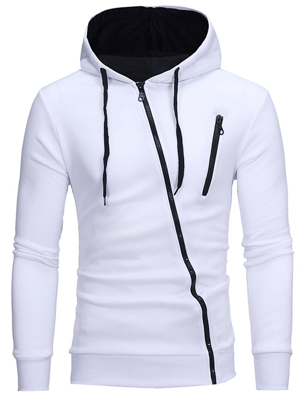 HOP FASHION Mens Casual Long Sleeve Sport Hoodies Diagonal Design Zip up Lightweight Sweatshirt Jacket Coat HOPM028-White-M