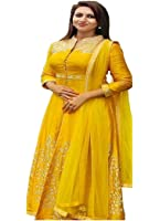 Surat4Fashion Women's Silk Yellow Anarkali Salwar suit (Suit109_Yellow_Free Size)