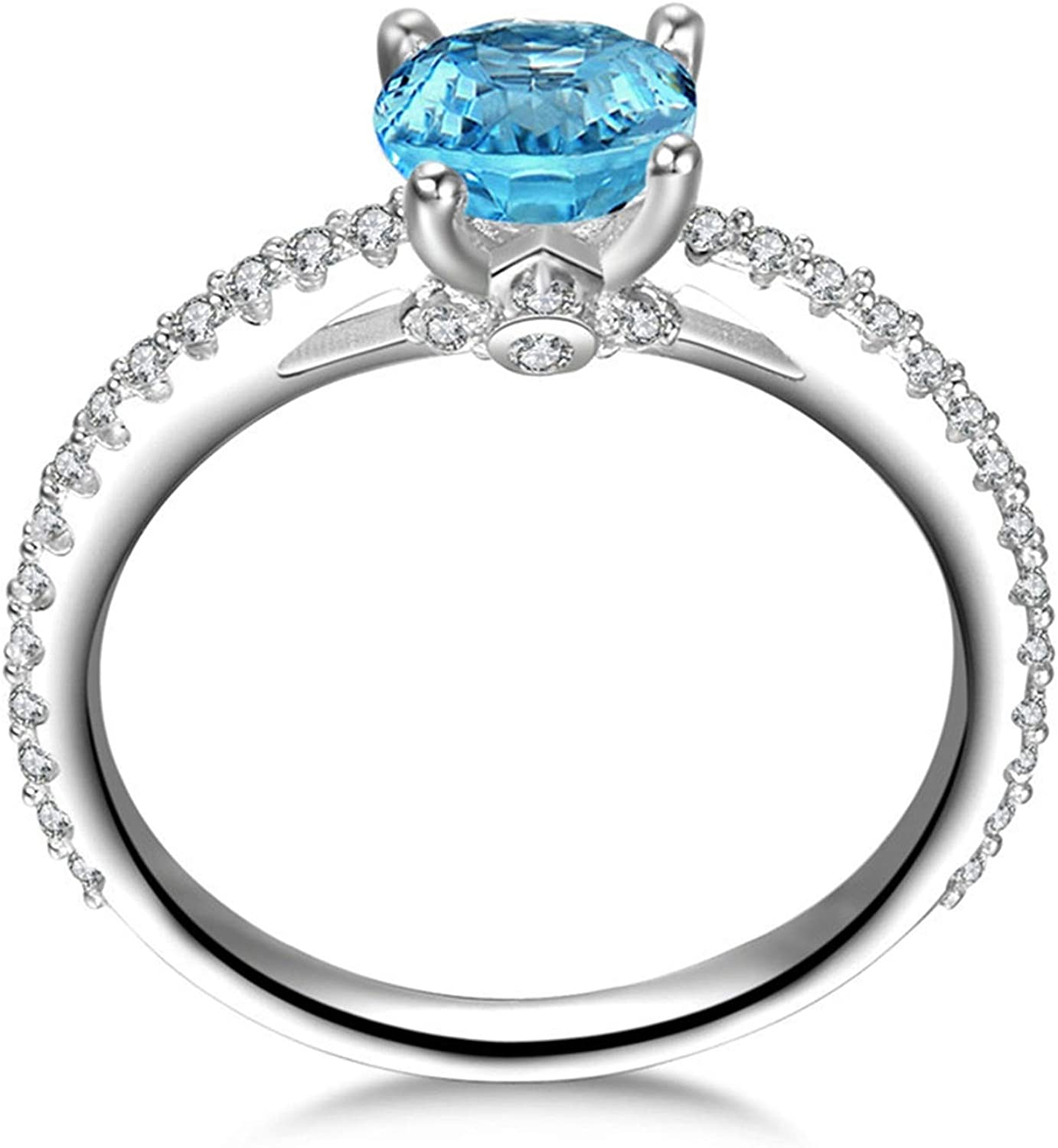 AMDXD Jewellery 925 Sterling Silver Anniversary Rings Womens Round Cut Topaz Round Ring
