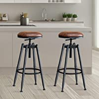 2X Levede Bar Chair Swivel Set Stools Adjustable Leather Height Counter Pub Pu