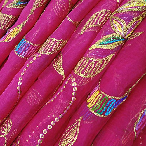 Vintage Dupatta Long Indian Scarf Antique Embroidered Fabric Magenta Veil Stole