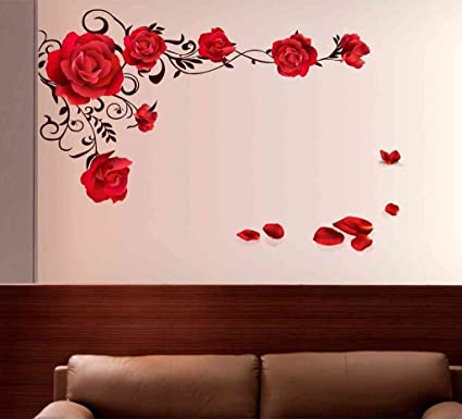 Decals design rose flowers with vine blowing on my wall wall sticker pvc