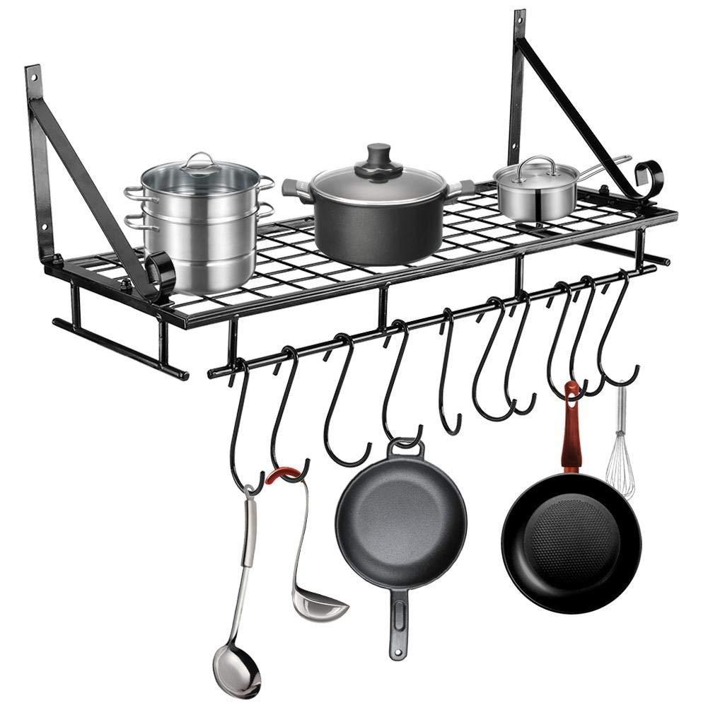 GOTOTOP Scaffale da cucina Porta utensili Mensola, Porta Pentole da Cucina Storage Rack Kitchen Ultensil Pot Holder da Muro con 10 ganci a S, 60 * 24 * 18 * 5cm