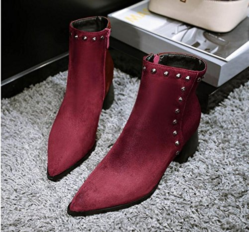 Ei&iLI Bottes courtes femmes Chunky talon Zipper Fashion bottes / a souligné Toe cuir robe noir / rouge , red , 32
