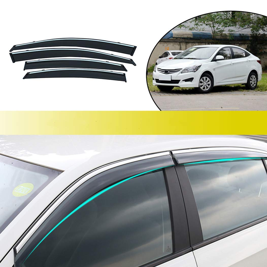 for Hyundai Tucson 2008-2014 Car Window Visors Rain Guard Vent Visor Side Wind Deflector Smoke Vent Shade Accessories Tape-On Mount 4Pcs