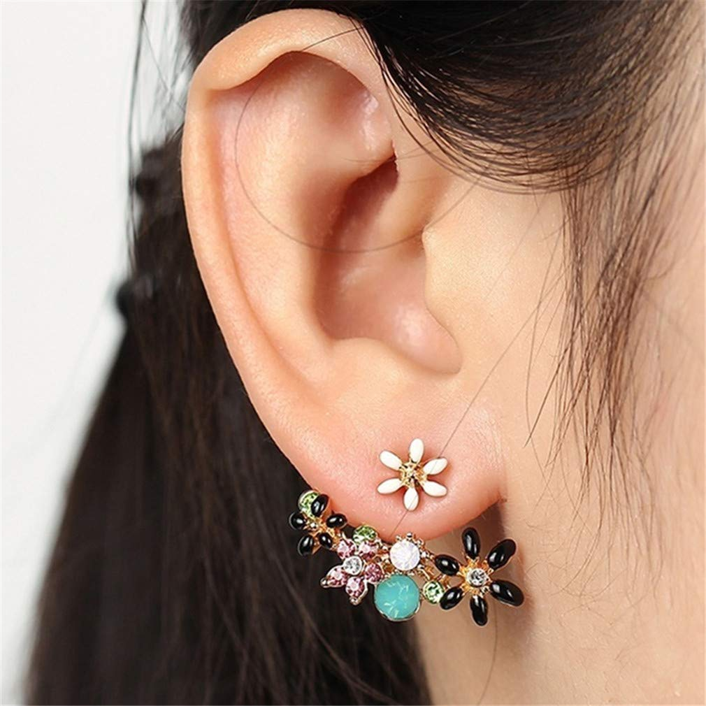 Iumer Chic Colorful Rhinestone Flower Back Earrings Ear Jackets,White rhinestone