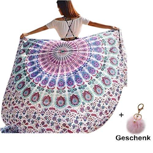 Ularma 148cmX210cm Strandtuch Rund Blumen Aufdruck Reisetuch Polyester Mehrfunktional Handtuch Bikini Überwurf Rechteckig Decke (bunt2)