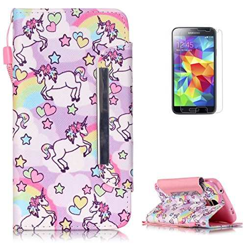 Samsung Galaxy S5 i9600 Premium Leather Wallet Case [Free Screen Protector],KaseHom Cute Animal Unicorn Rainbow Pattern Design Folio Flip Magnetic Protective PU Leather Case Cover Skin - Pink Baby Cherries