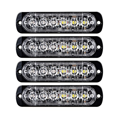 4pcs Surface Mount Amber/White 18W 6-LED Warning Emergency Flashing Strobe Light Bar 12V-24V (Mount Strobe Light)