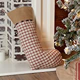 Piper Classics Red Windowpane Plaid & Burlap Christmas Stocking w/Jingle Bells, 12'' x 20'', Country Farmhouse Holiday Décor