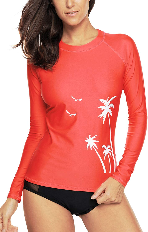 Vegatos Damen Rash Guard Langarm Sport UV-Shirt UPF 50+