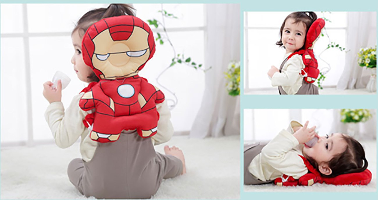 HuBaby Infant Head and Back Protector Backpack Wear (Iron Man), Multi