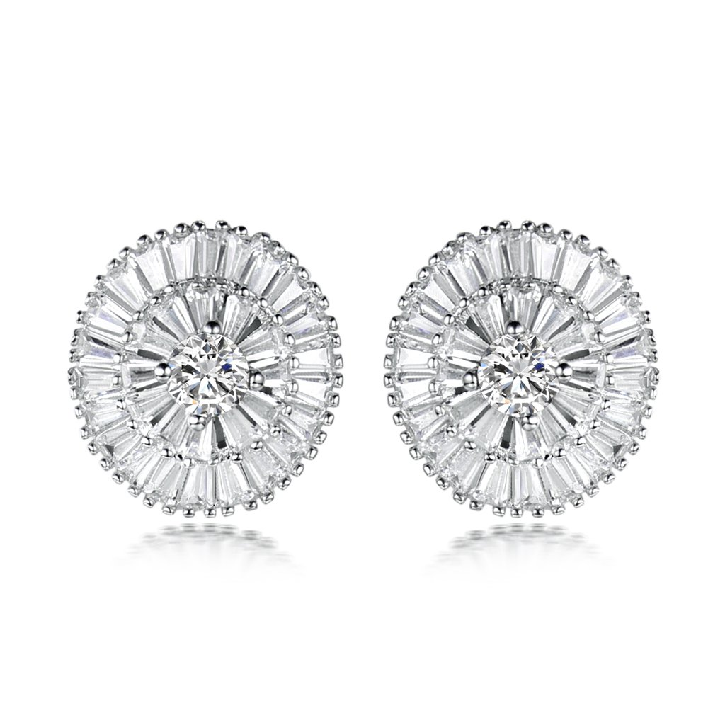 GULICX Silver Tone White Zircon Jewellery Round Pierced Statement Wedding Stud Earrings