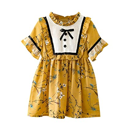 08c60418ce6c Iuhan Princess Dress for Little Girl Casual Floral Bowknot Short Sleeve  Skirt Dresses (3-