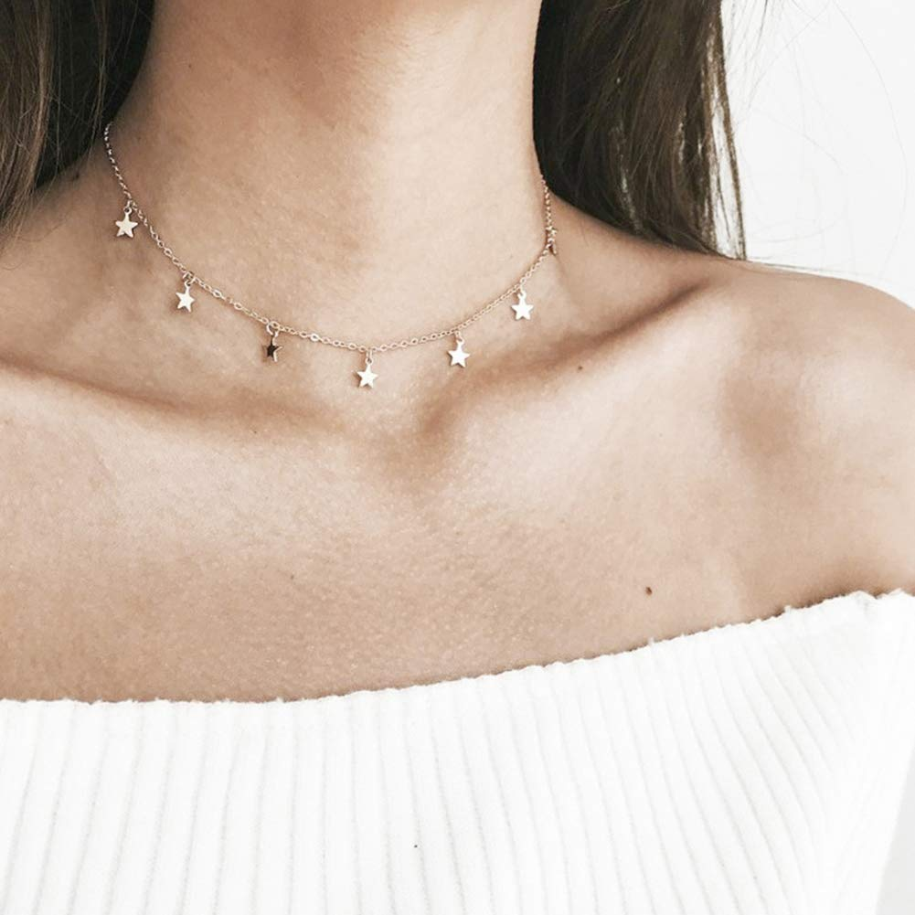 YUnnuopromi Women Necklaces Stars Pendant Alloy Clavicle Chain Choker Necklace Jewelry Gift