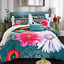 4Pcs Girls Colorful Circles Flowers Comforter Set Twin Queen King Size,Reversible Bedding Set 100% Cotton,Beautiful Flowers and Floral Pattern (US TWIN)
